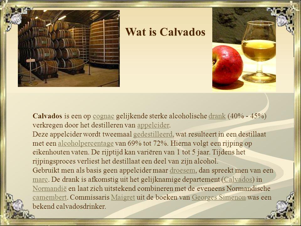 """Zoals de meeste Franse wijnen, wordt Calvados beheerst door een """"appellation contrôlée"""" regelgeving. Er zijn drie benamingen voor calvados: * De AOC c"""
