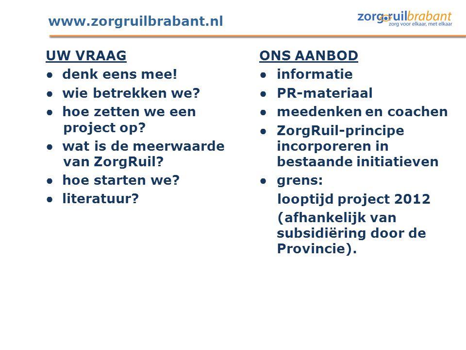 www.zorgruilbrabant.nl UW VRAAG ● denk eens mee! ● wie betrekken we? ● hoe zetten we een project op? ● wat is de meerwaarde van ZorgRuil? ● hoe starte