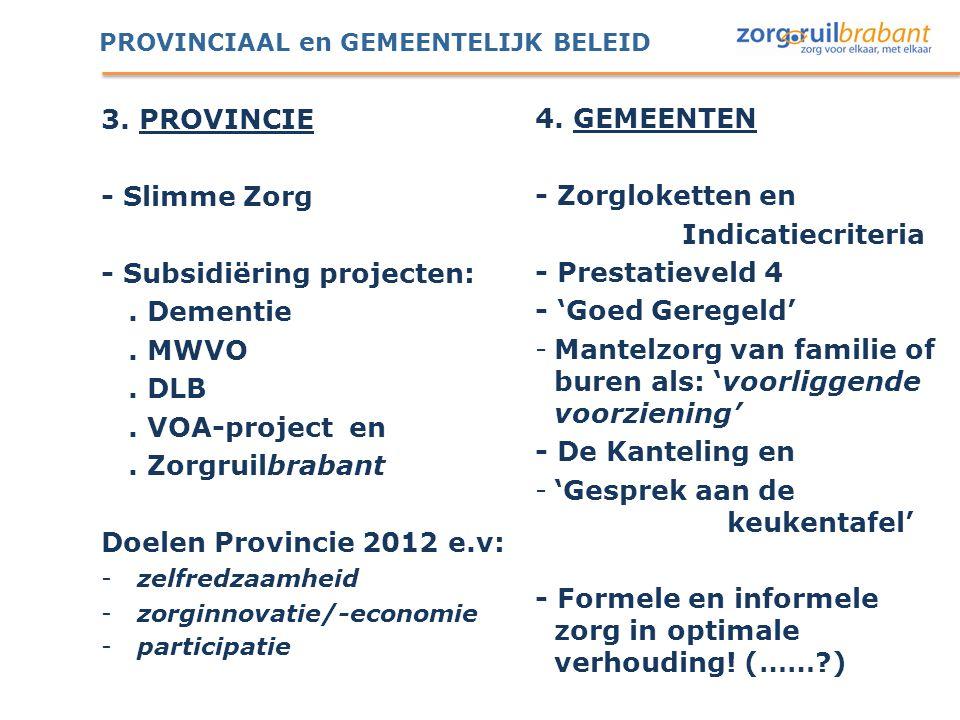 PROVINCIAAL en GEMEENTELIJK BELEID 3. PROVINCIE - Slimme Zorg - Subsidiëring projecten:. Dementie. MWVO. DLB. VOA-project en. Zorgruilbrabant Doelen P