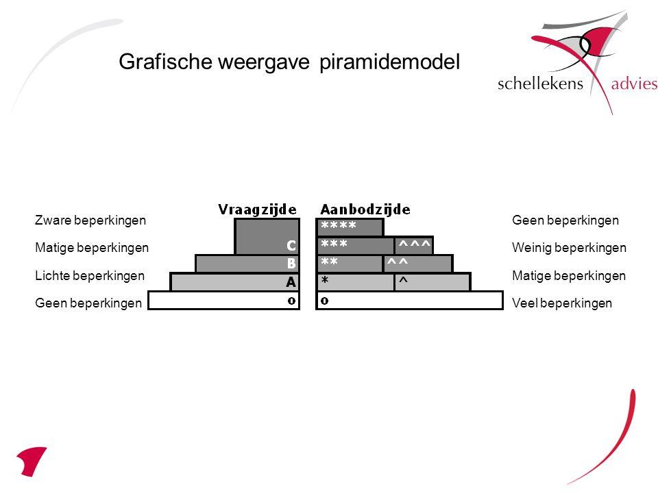 Grafische weergave piramidemodel Geen beperkingen Weinig beperkingen Matige beperkingen Veel beperkingen Zware beperkingen Matige beperkingen Lichte beperkingen Geen beperkingen