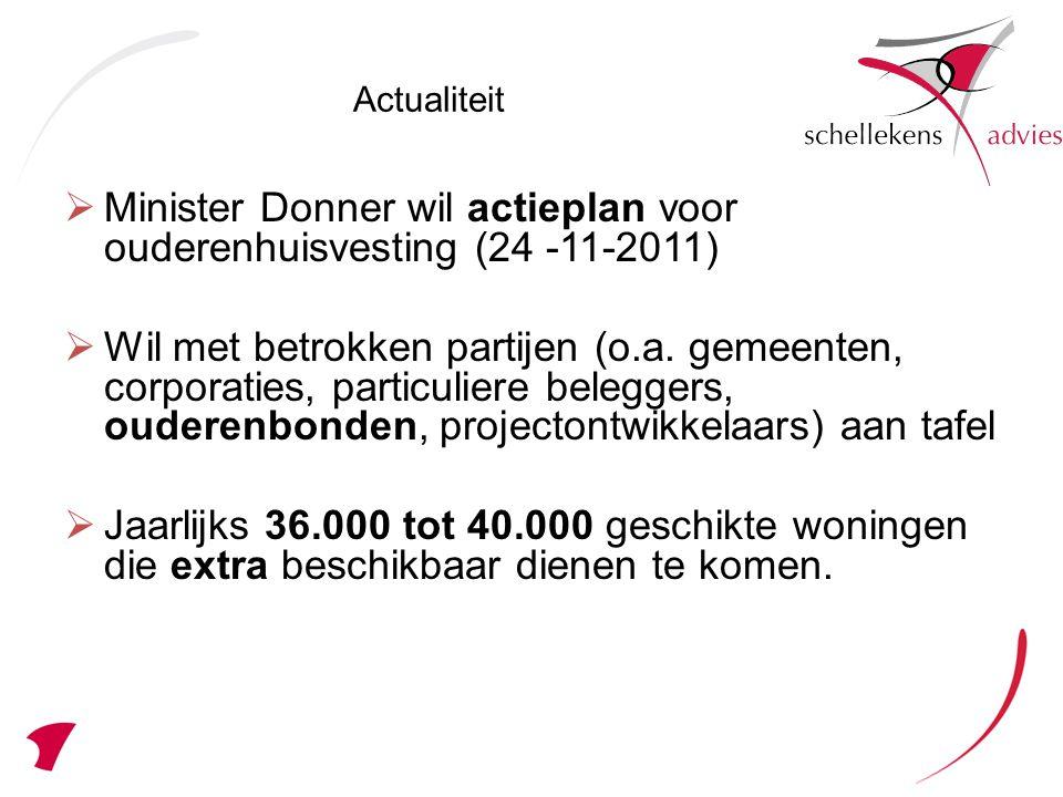 Uit de Monitor Investeren voor de Toekomst 2009 bleek eerder dat vanaf 2010 de specifieke woningbehoefte voor ouderen toeneemt: tussen de 330.000 tot 362.000 geschikte woningen.
