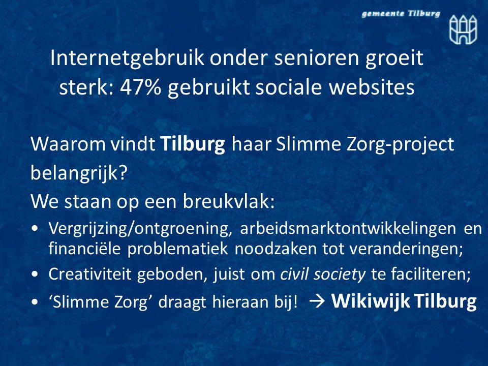 Internetgebruik onder senioren groeit sterk: 47% gebruikt sociale websites Waarom vindt Tilburg haar Slimme Zorg-project belangrijk.