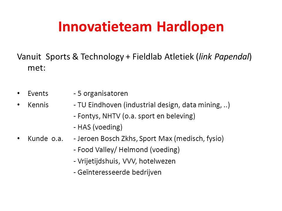 Innovatieteam Hardlopen Vanuit Sports & Technology + Fieldlab Atletiek (link Papendal) met: Events- 5 organisatoren Kennis - TU Eindhoven (industrial