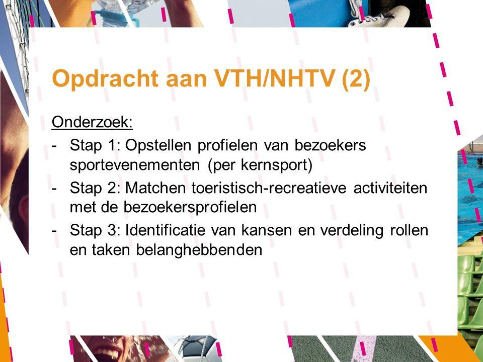 Opdracht aan VTH/NHTV (2) Onderzoek: -Stap 1: Opstellen profielen van bezoekers sportevenementen (per kernsport) -Stap 2: Matchen toeristisch-recreati