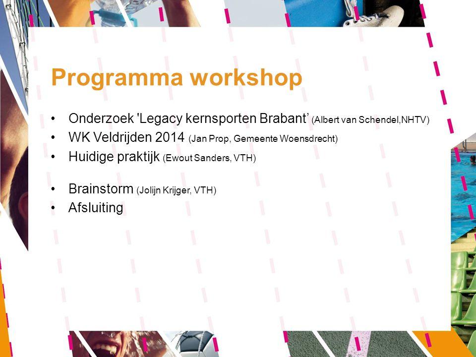 Programma workshop Onderzoek 'Legacy kernsporten Brabant' (Albert van Schendel,NHTV) WK Veldrijden 2014 (Jan Prop, Gemeente Woensdrecht) Huidige prakt