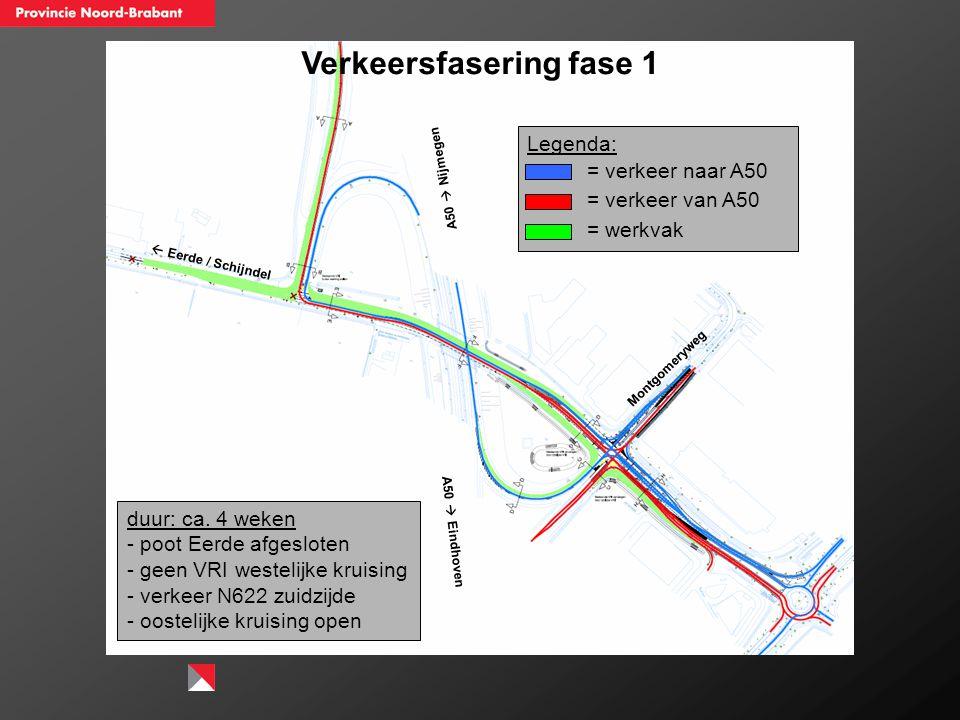Verkeersfasering fase 1  Eerde / Schijndel A50  Nijmegen A50  Eindhoven Montgomeryweg duur: ca. 4 weken - poot Eerde afgesloten - geen VRI westelij