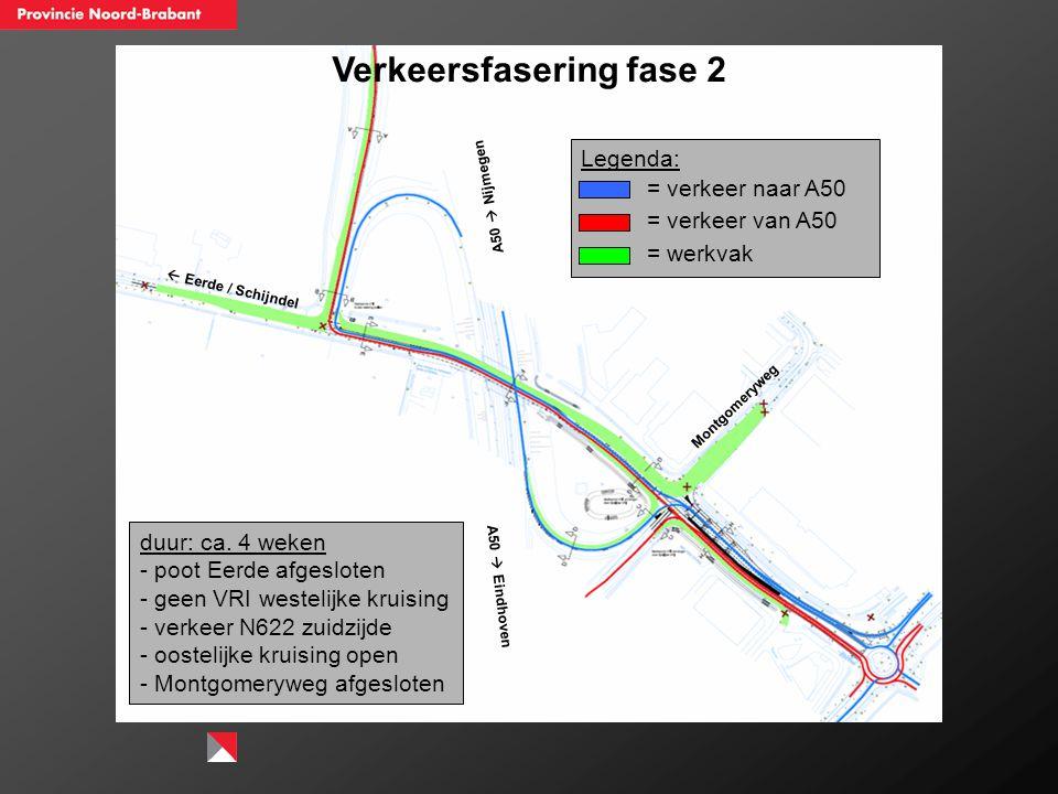 Verkeersfasering fase 2  Eerde / Schijndel A50  Nijmegen A50  Eindhoven Montgomeryweg duur: ca. 4 weken - poot Eerde afgesloten - geen VRI westelij