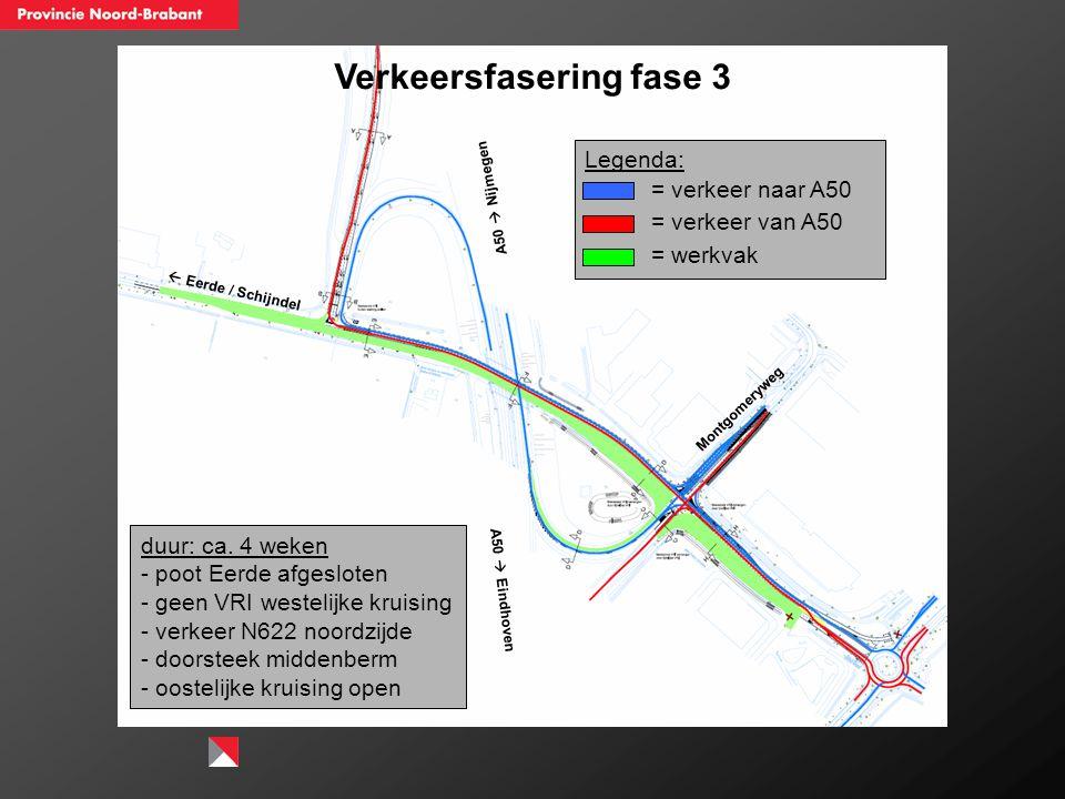 Verkeersfasering fase 3  Eerde / Schijndel A50  Nijmegen A50  Eindhoven Montgomeryweg duur: ca. 4 weken - poot Eerde afgesloten - geen VRI westelij
