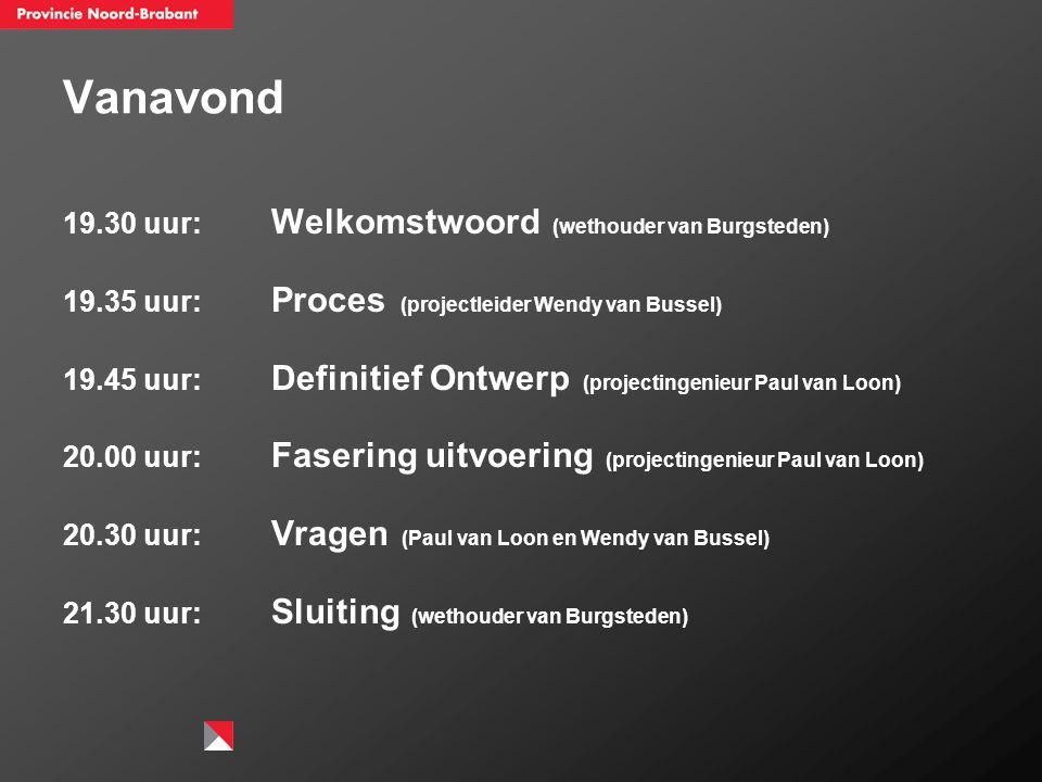 Vanavond 19.30 uur: Welkomstwoord (wethouder van Burgsteden) 19.35 uur: Proces (projectleider Wendy van Bussel) 19.45 uur: Definitief Ontwerp (project