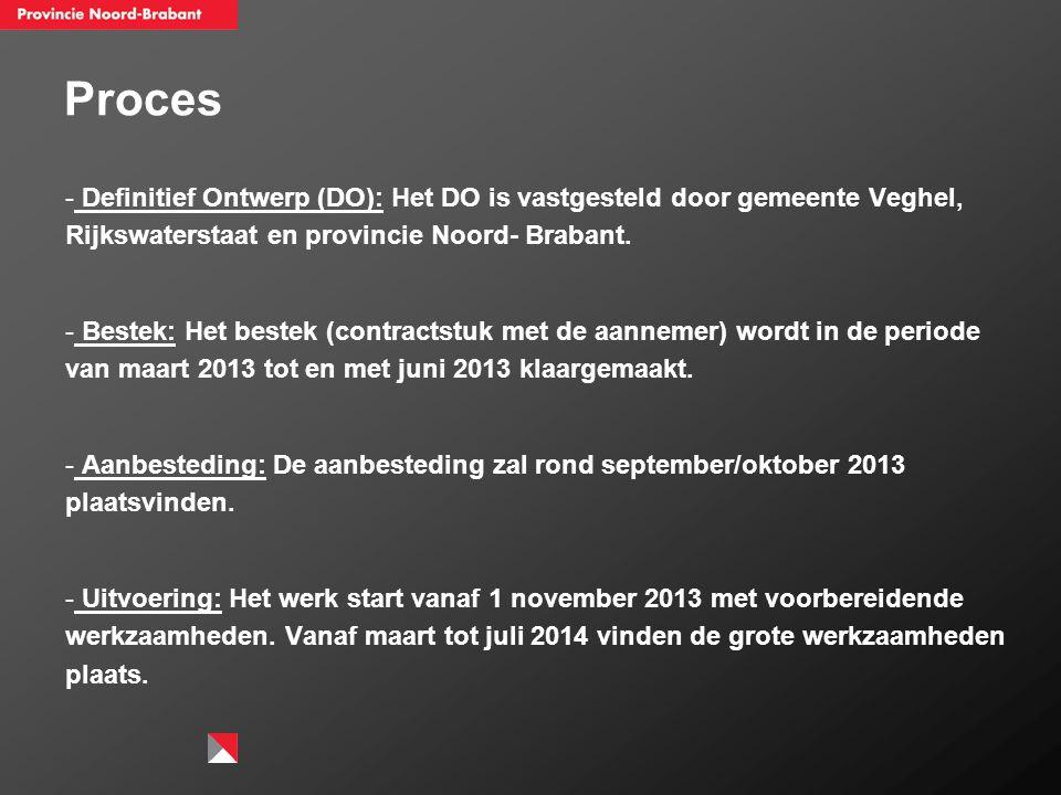 Proces - Definitief Ontwerp (DO): Het DO is vastgesteld door gemeente Veghel, Rijkswaterstaat en provincie Noord- Brabant. - Bestek: Het bestek (contr