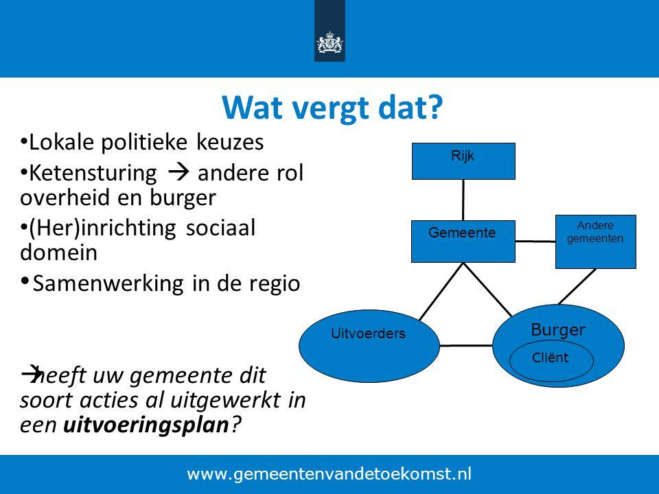 Wat vergt dat? Lokale politieke keuzes Ketensturing  andere rol overheid en burger (Her)inrichting sociaal domein Samenwerking in de regio  heeft uw