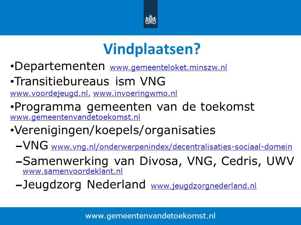Vindplaatsen? Departementen www.gemeenteloket.minszw.nl www.gemeenteloket.minszw.nl Transitiebureaus ism VNG www.voordejeugd.nlwww.voordejeugd.nl, www