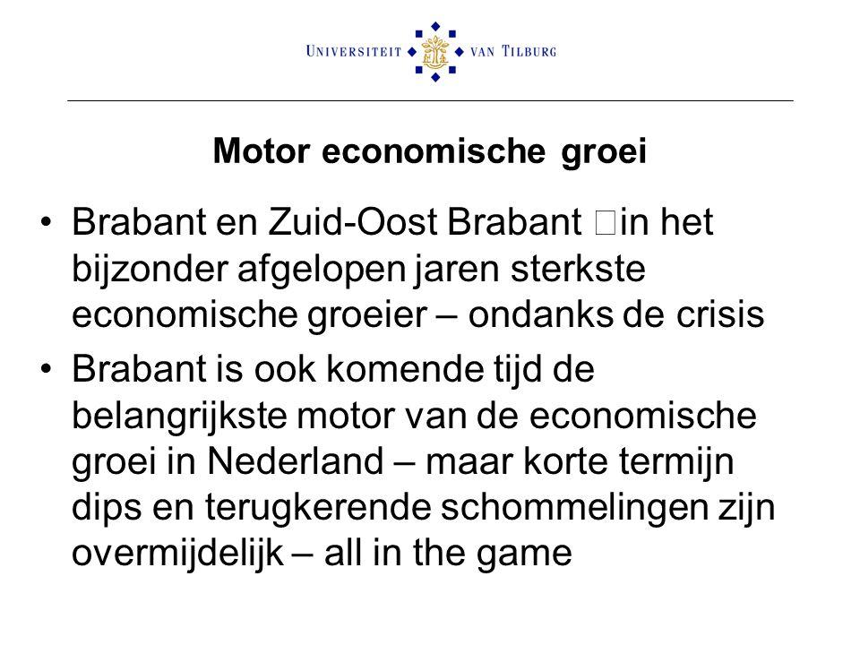 Motor economische groei Brabant en Zuid-Oost Brabant –in het bijzonder afgelopen jaren sterkste economische groeier – ondanks de crisis Brabant is ook