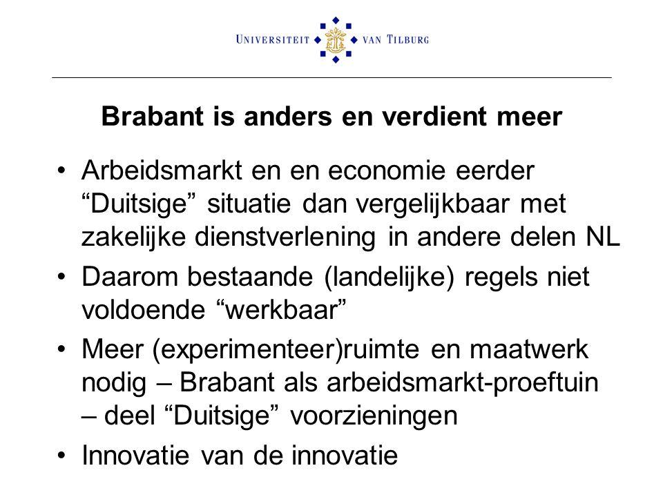 """Brabant is anders en verdient meer Arbeidsmarkt en en economie eerder """"Duitsige"""" situatie dan vergelijkbaar met zakelijke dienstverlening in andere de"""