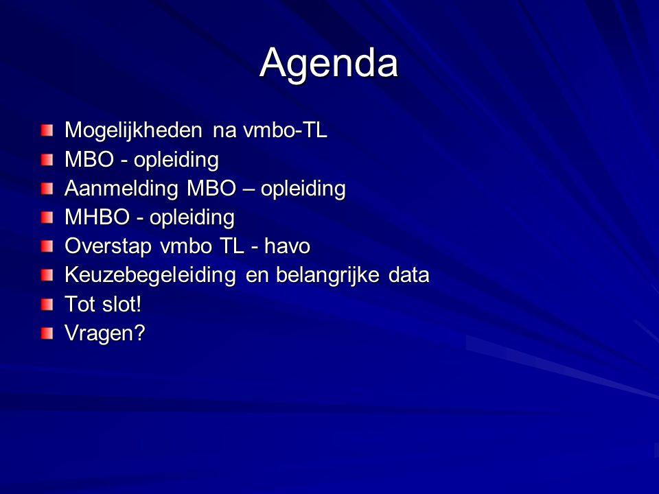 Agenda Mogelijkheden na vmbo-TL MBO - opleiding Aanmelding MBO – opleiding MHBO - opleiding Overstap vmbo TL - havo Keuzebegeleiding en belangrijke da