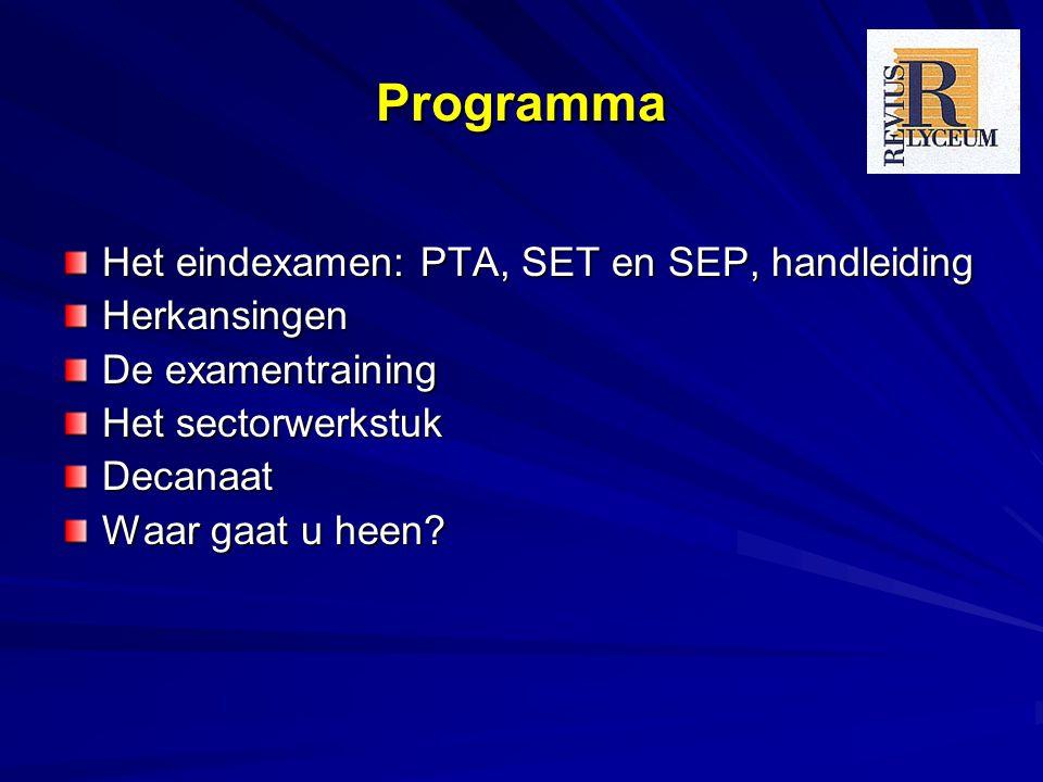 Programma Het eindexamen: PTA, SET en SEP, handleiding Herkansingen De examentraining Het sectorwerkstuk Decanaat Waar gaat u heen?