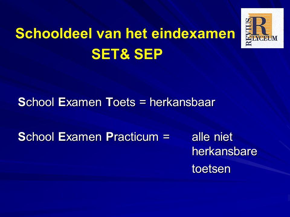 School Examen Toets = herkansbaar School Examen Practicum = alle niet herkansbare toetsen Schooldeel van het eindexamen SET& SEP