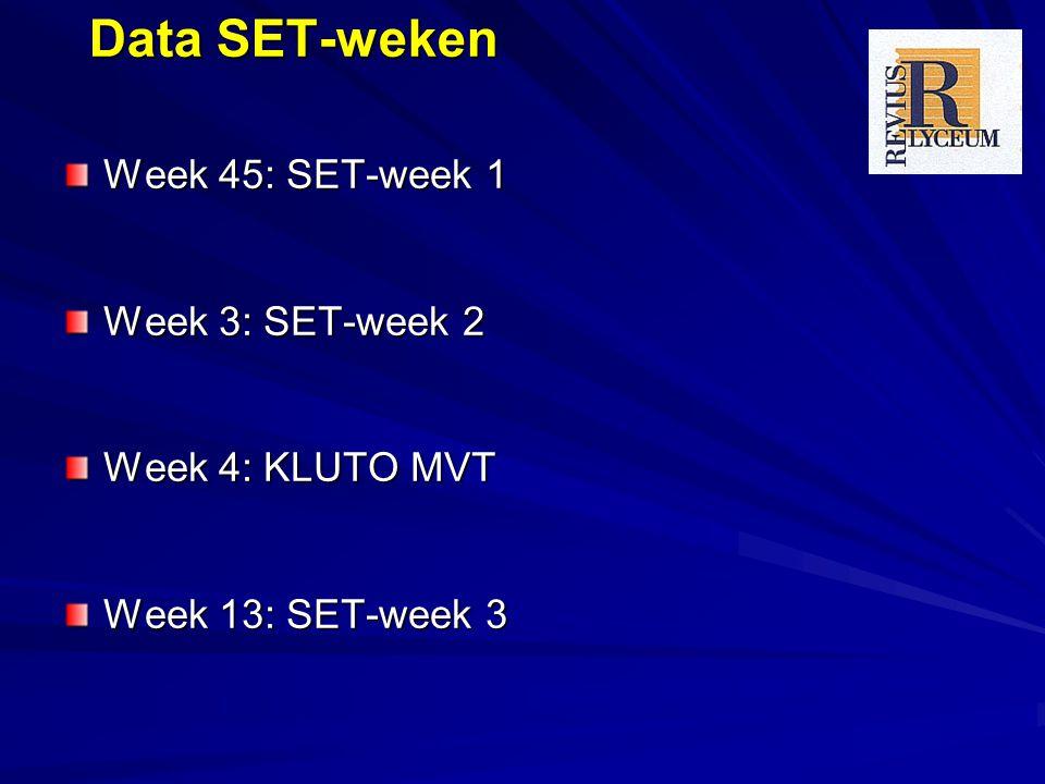Data SET-weken Week 45: SET-week 1 Week 3: SET-week 2 Week 4: KLUTO MVT Week 13: SET-week 3
