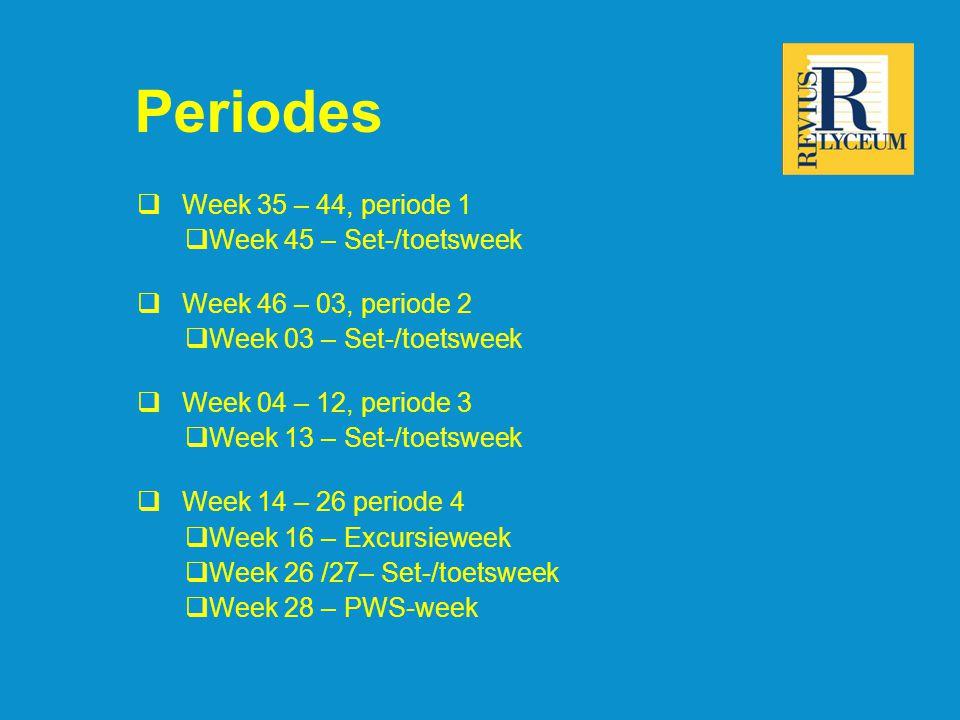 Periodes  Week 35 – 44, periode 1  Week 45 – Set-/toetsweek  Week 46 – 03, periode 2  Week 03 – Set-/toetsweek  Week 04 – 12, periode 3  Week 13