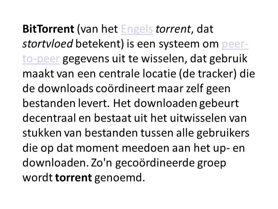 BitTorrent (van het Engels torrent, dat stortvloed betekent) is een systeem om peer- to-peer gegevens uit te wisselen, dat gebruik maakt van een centrale locatie (de tracker) die de downloads coördineert maar zelf geen bestanden levert.