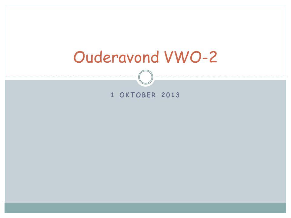 1 OKTOBER 2013 Ouderavond VWO-2