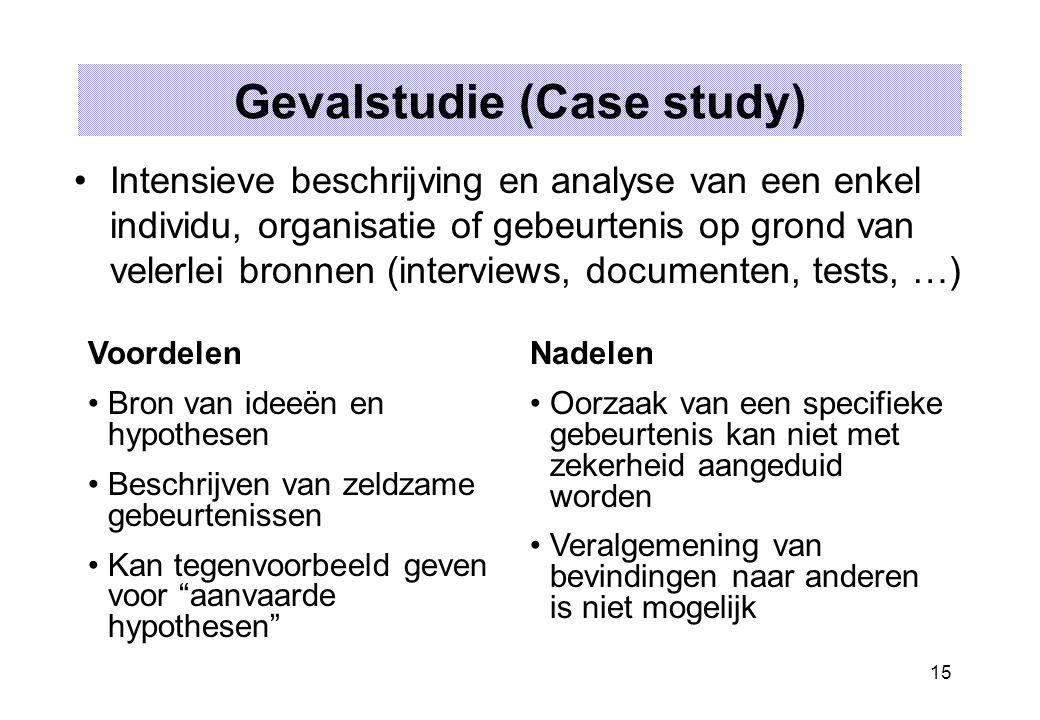 15 Gevalstudie (Case study) Intensieve beschrijving en analyse van een enkel individu, organisatie of gebeurtenis op grond van velerlei bronnen (inter