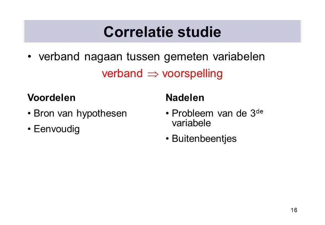 16 Correlatie studie verband nagaan tussen gemeten variabelen verband  voorspelling Voordelen Bron van hypothesen Eenvoudig Nadelen Probleem van de 3