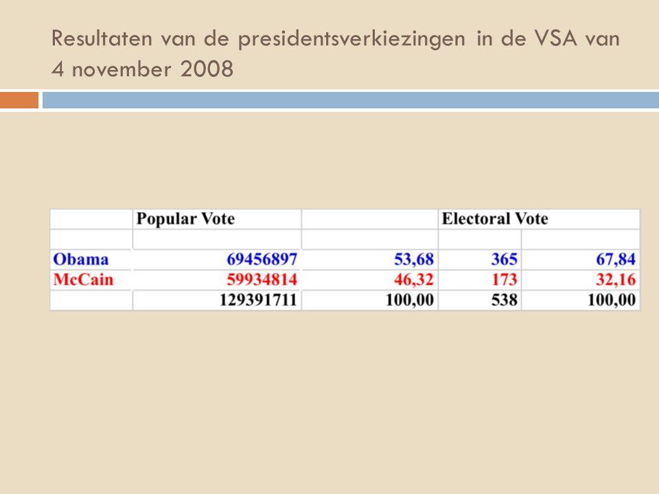 Resultaten van de presidentsverkiezingen in de VSA van 4 november 2008