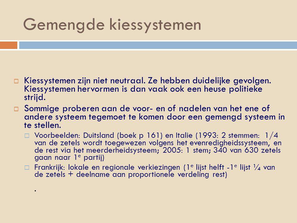 Gemengde kiessystemen  Kiessystemen zijn niet neutraal.