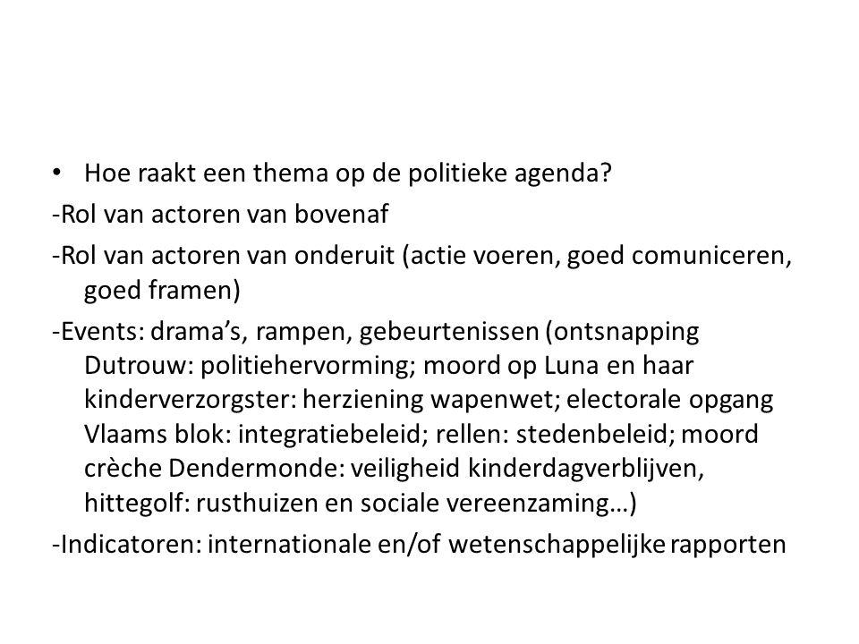 Hoe raakt een thema op de politieke agenda? -Rol van actoren van bovenaf -Rol van actoren van onderuit (actie voeren, goed comuniceren, goed framen) -