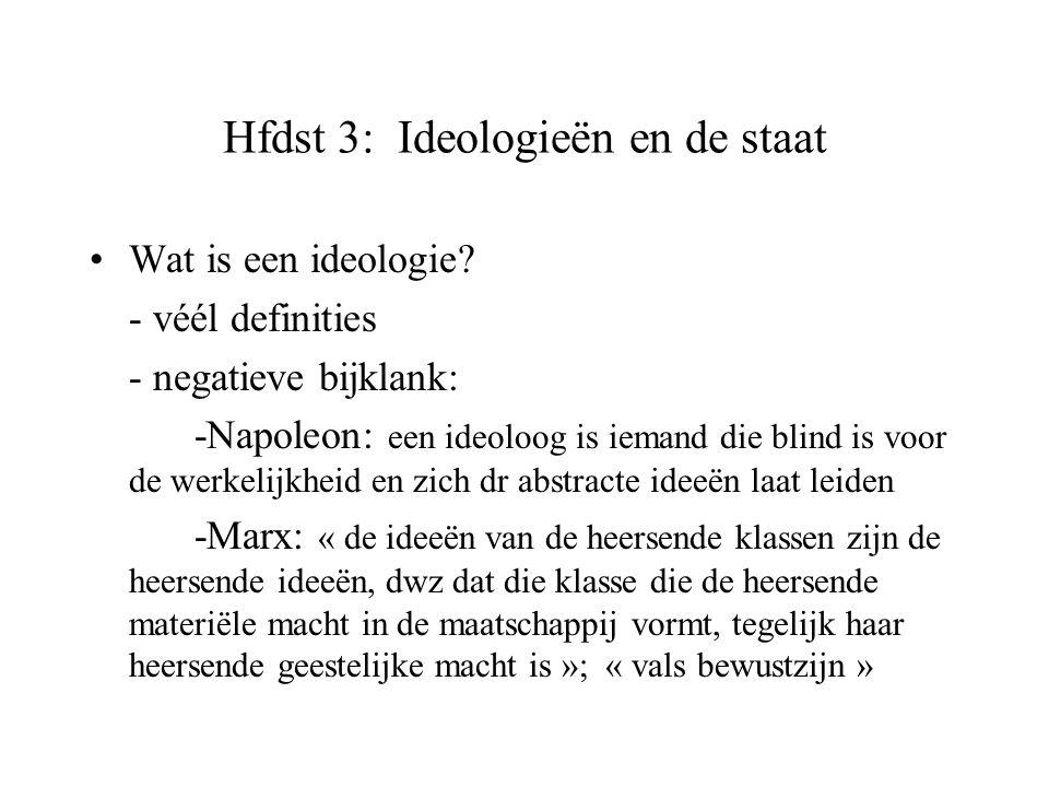 Hfdst 3: Ideologieën en de staat Wat is een ideologie? - véél definities - negatieve bijklank: -Napoleon: een ideoloog is iemand die blind is voor de