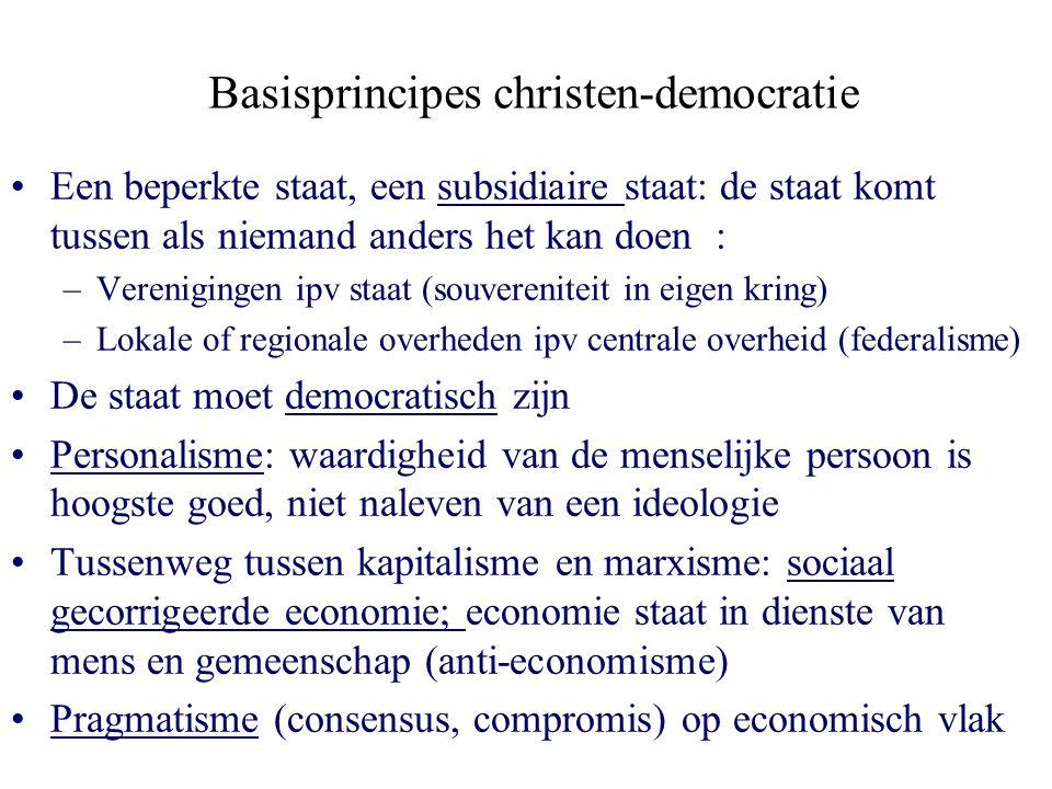 Basisprincipes christen-democratie Een beperkte staat, een subsidiaire staat: de staat komt tussen als niemand anders het kan doen : –Verenigingen ipv