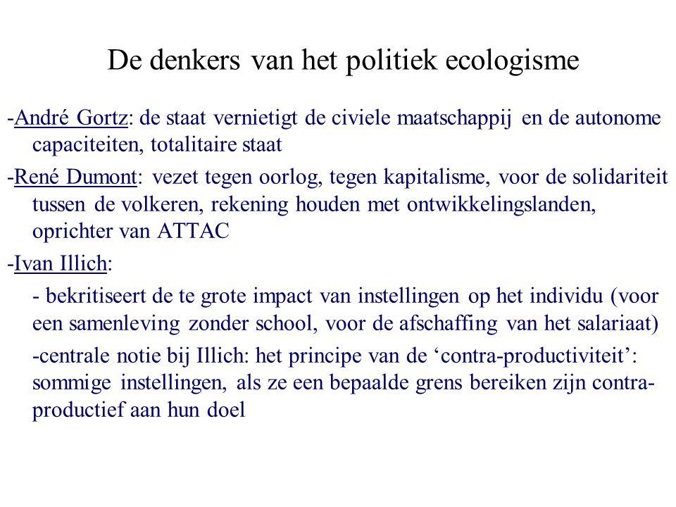 De denkers van het politiek ecologisme -André Gortz: de staat vernietigt de civiele maatschappij en de autonome capaciteiten, totalitaire staat -René