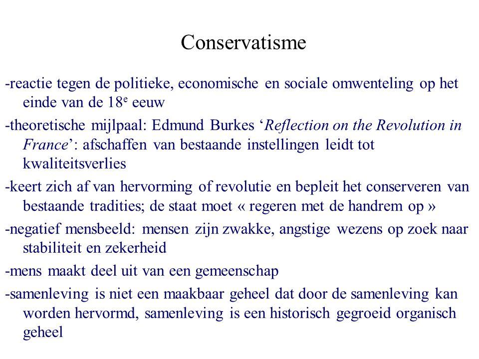 Conservatisme -reactie tegen de politieke, economische en sociale omwenteling op het einde van de 18 e eeuw -theoretische mijlpaal: Edmund Burkes 'Ref