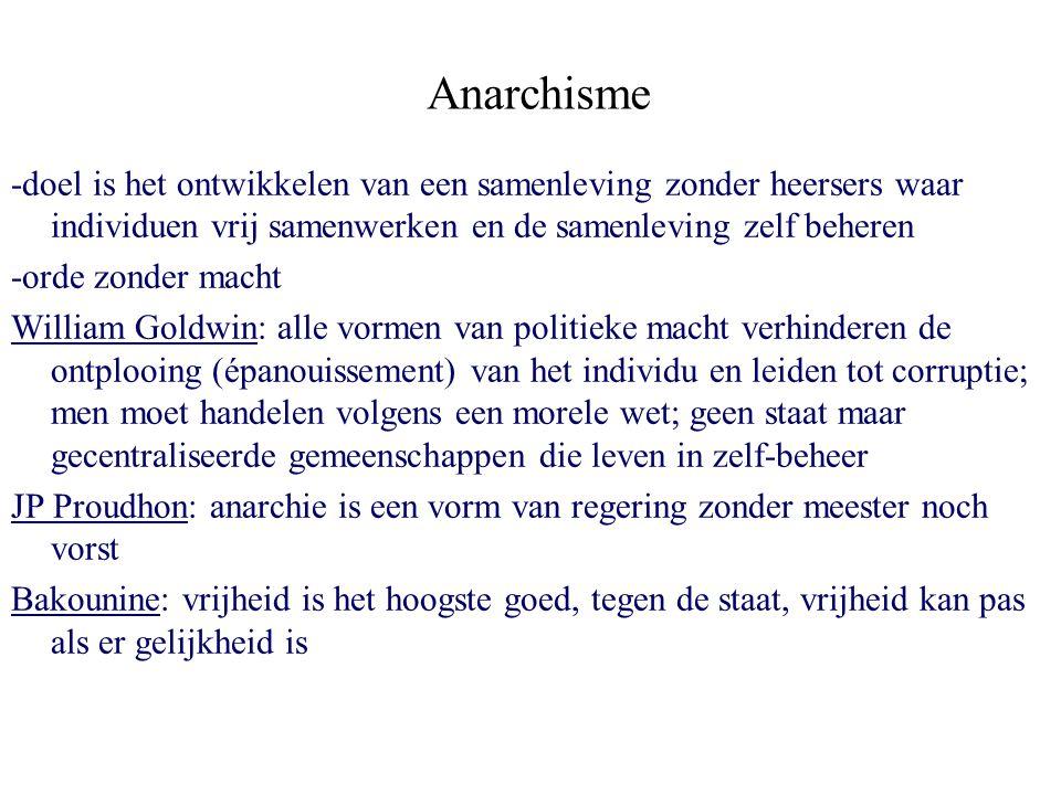 Anarchisme -doel is het ontwikkelen van een samenleving zonder heersers waar individuen vrij samenwerken en de samenleving zelf beheren -orde zonder m