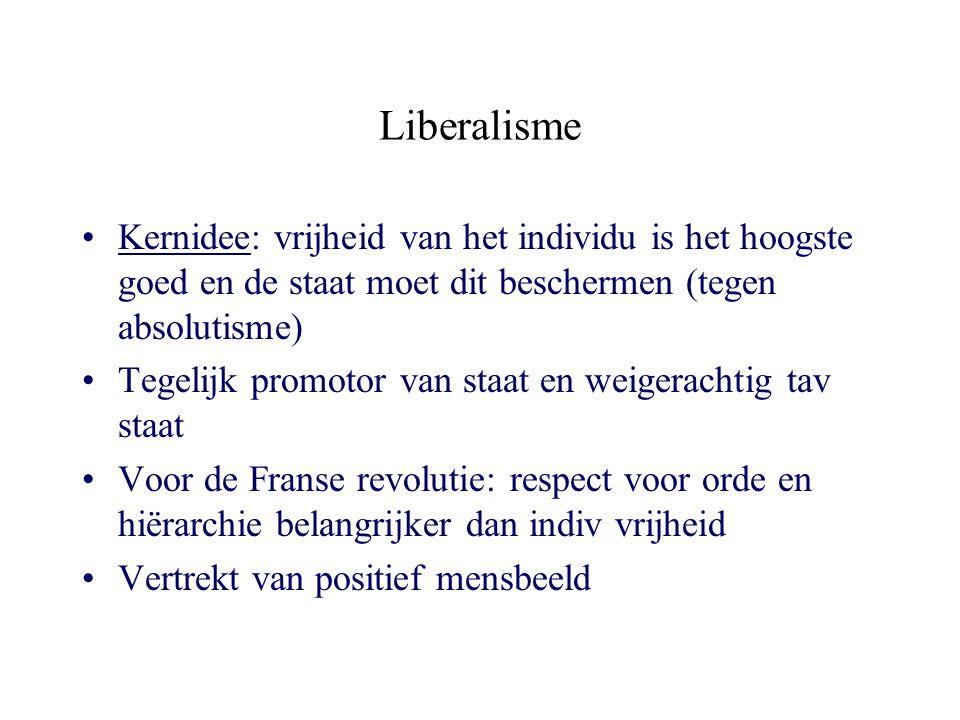 Liberalisme Kernidee: vrijheid van het individu is het hoogste goed en de staat moet dit beschermen (tegen absolutisme) Tegelijk promotor van staat en