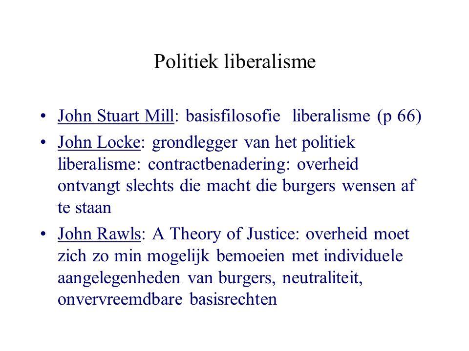 Politiek liberalisme John Stuart Mill: basisfilosofie liberalisme (p 66) John Locke: grondlegger van het politiek liberalisme: contractbenadering: ove