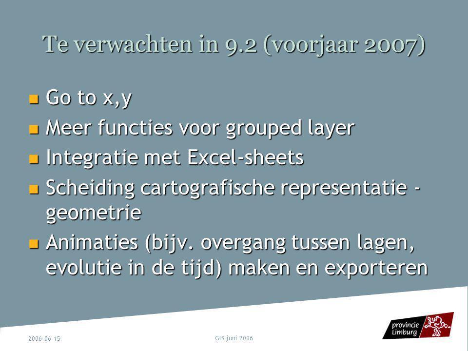 2006-06-15 GIS juni 2006 Te verwachten in 9.2 (voorjaar 2007) Go to x,y Go to x,y Meer functies voor grouped layer Meer functies voor grouped layer In