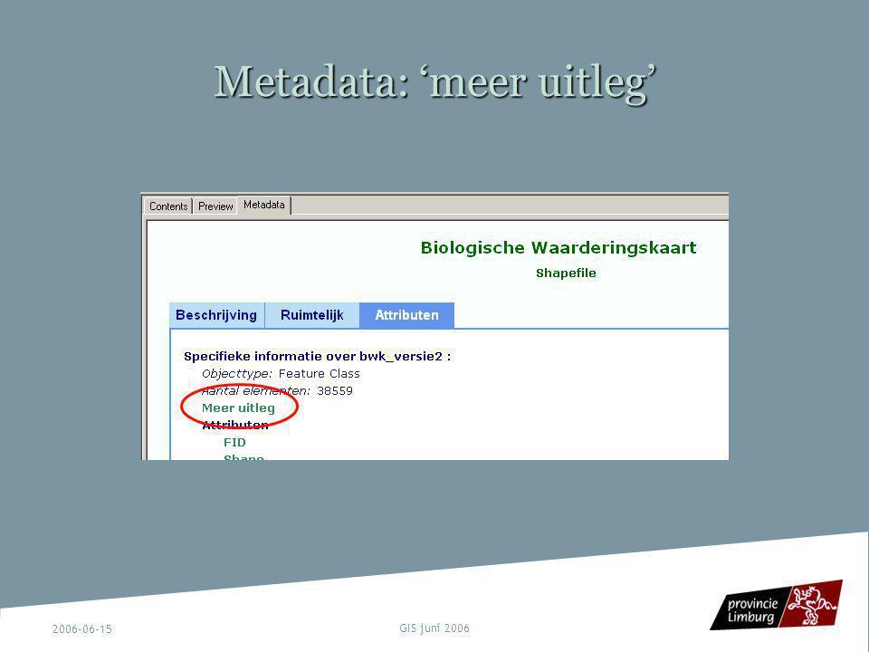 2006-06-15 GIS juni 2006 Metadata: 'meer uitleg'