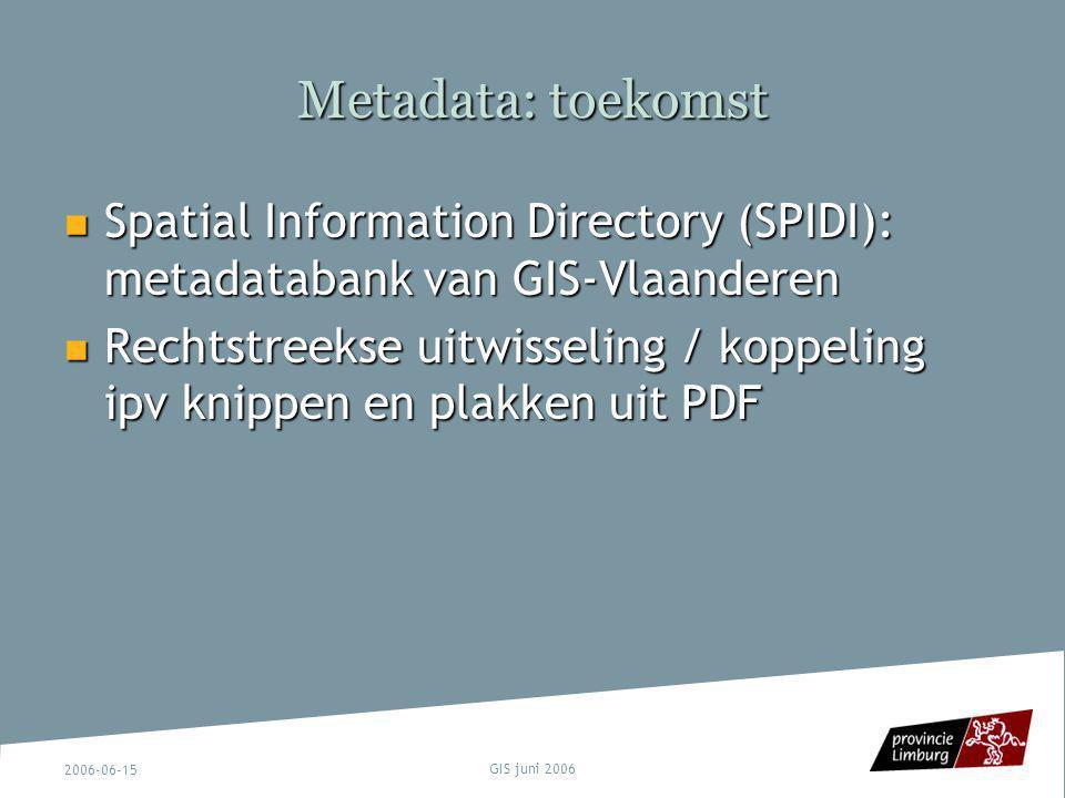 2006-06-15 GIS juni 2006 Metadata: toekomst Spatial Information Directory (SPIDI): metadatabank van GIS-Vlaanderen Spatial Information Directory (SPID