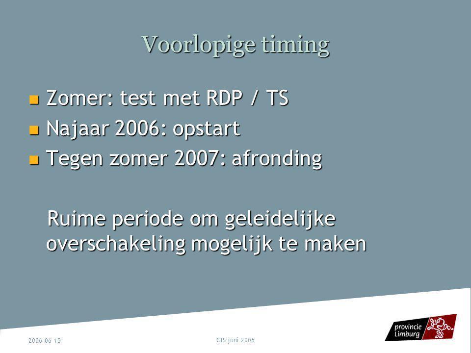 2006-06-15 GIS juni 2006 Voorlopige timing Zomer: test met RDP / TS Zomer: test met RDP / TS Najaar 2006: opstart Najaar 2006: opstart Tegen zomer 200