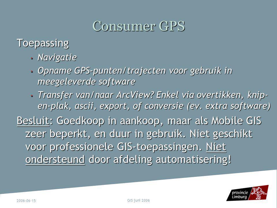 2006-06-15 GIS juni 2006 Consumer GPS Toepassing Navigatie Navigatie Opname GPS-punten/trajecten voor gebruik in meegeleverde software Opname GPS-punt