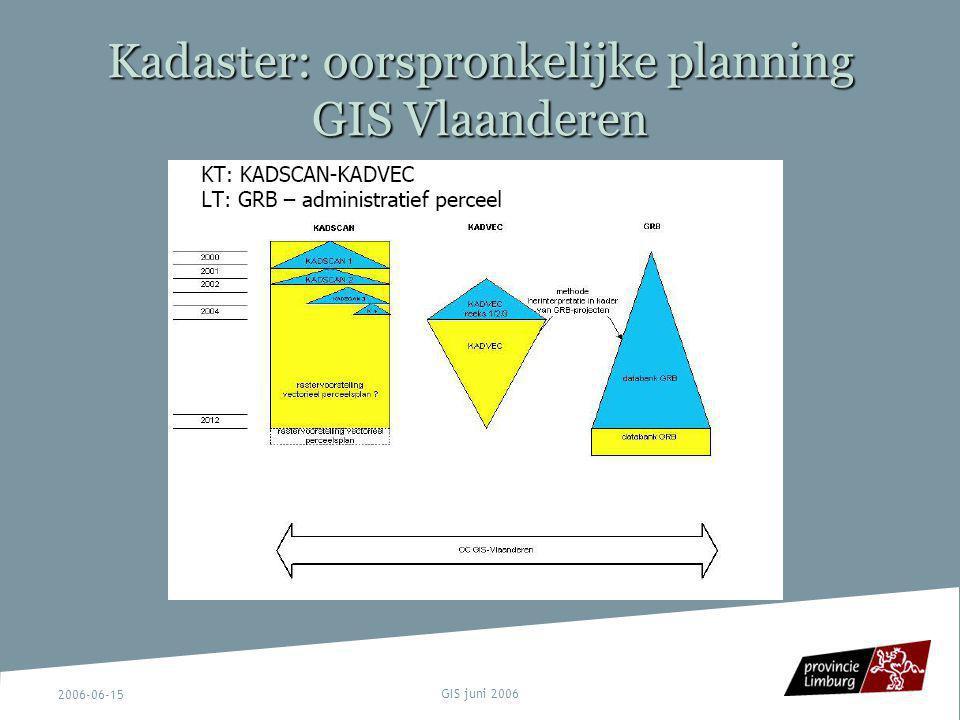 2006-06-15 GIS juni 2006 Kadaster: oorspronkelijke planning GIS Vlaanderen