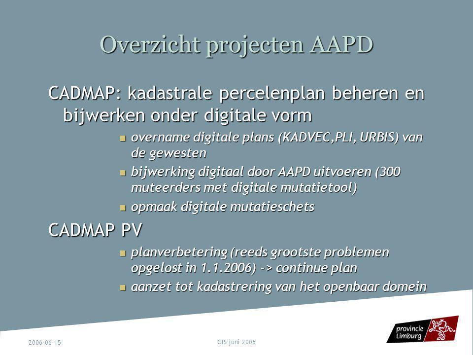 2006-06-15 GIS juni 2006 Overzicht projecten AAPD CADMAP: kadastrale percelenplan beheren en bijwerken onder digitale vorm overname digitale plans (KA