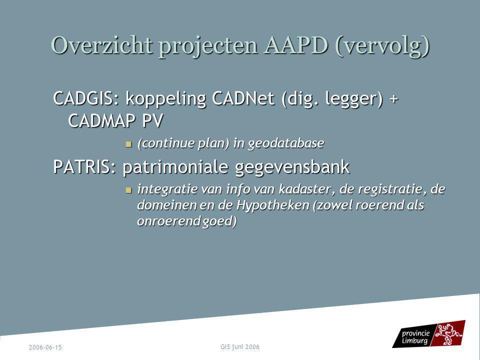 2006-06-15 GIS juni 2006 Overzicht projecten AAPD (vervolg) CADGIS: koppeling CADNet (dig. legger) + CADMAP PV (continue plan) in geodatabase (continu
