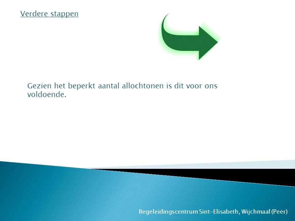Begeleidingscentrum Sint-Elisabeth, Wijchmaal (Peer) Verdere stappen Gezien het beperkt aantal allochtonen is dit voor ons voldoende.
