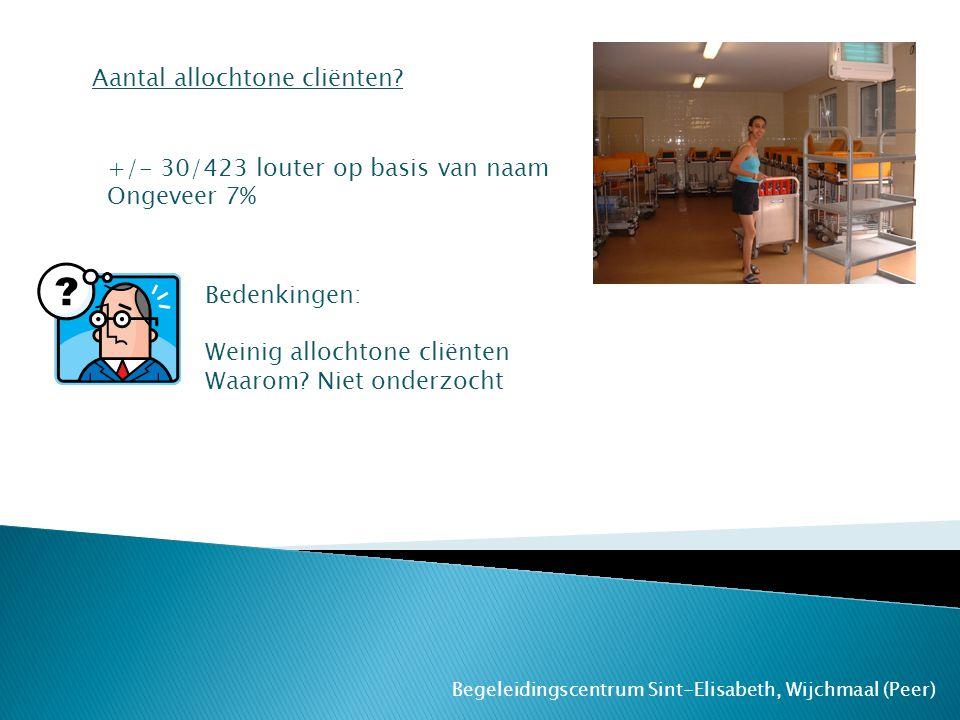 Begeleidingscentrum Sint-Elisabeth, Wijchmaal (Peer) Aantal allochtone cliënten? +/- 30/423 louter op basis van naam Ongeveer 7% Bedenkingen: Weinig a