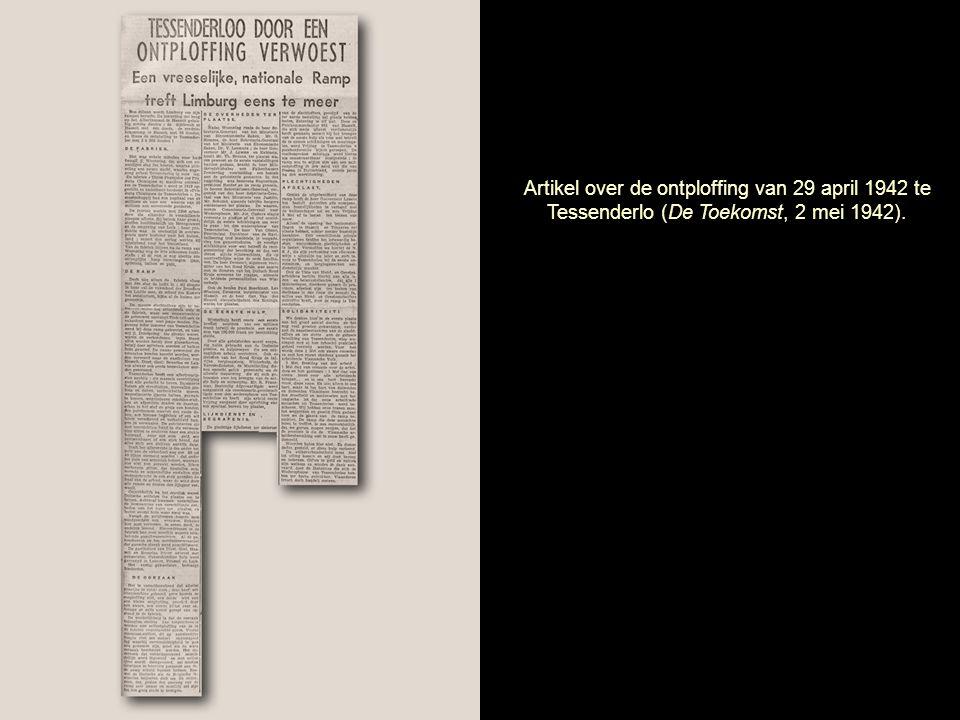 Artikel over de ontploffing van 29 april 1942 te Tessenderlo (De Toekomst, 2 mei 1942).