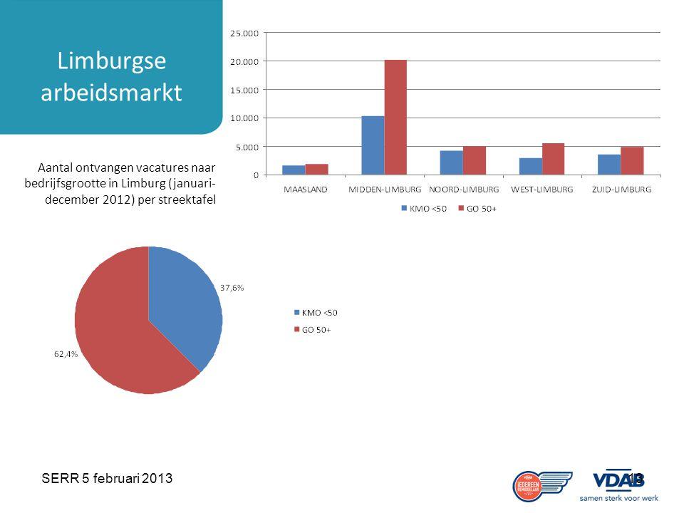 SERR 5 februari 201313 Limburgse arbeidsmarkt Aantal ontvangen vacatures naar bedrijfsgrootte in Limburg (januari- december 2012) per streektafel