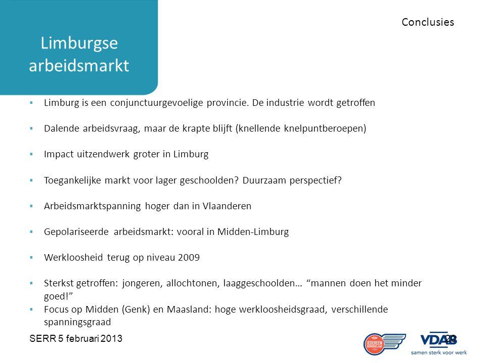 SERR 5 februari 201320 Limburgse arbeidsmarkt Conclusies  Limburg is een conjunctuurgevoelige provincie. De industrie wordt getroffen  Dalende arbei